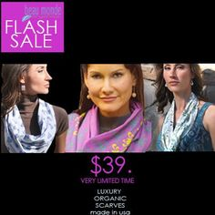"""3 Featured Scarves, 8 Hr. Flash Sale! $39.w/ no code. or Save 30% with """"FALL30' Ends 11/1/13, 11:59 PDT http://beaumondeorganics.com/"""