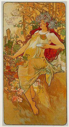 Seasons_Autumn, Alphonse Mucha
