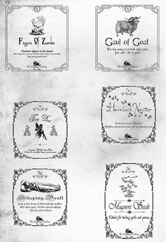 Potion Labels Page_6 by a_granger, via Flickr