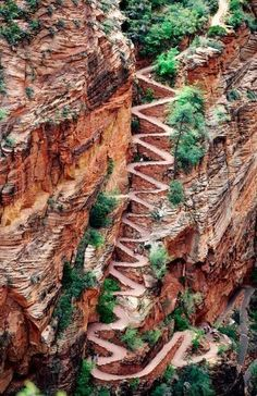 """Walter's Wiggles is a series of 21 steep switchbacks which lead to the final summit push to the top of Angel's Landing in Zion National Park, Utah."""