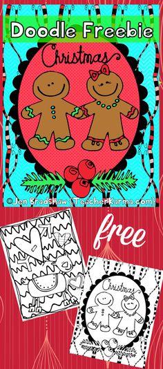FREE: Christmas doodle fun pages to color! Lots of detail. FREEBIE coloring doodles. TeacherKarma.com #doodle #coloring