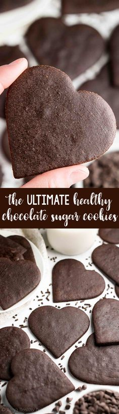 Healthy Recipes : Illustration Description The ULTIMATE Healthy Chocolate Sugar Cookies! So rich & just 39 calories! They're soft, chewy & really easy to make. Truly the BEST! You'll never use another chocolate sugar cookie recipe again! Chocolate Sugar Cookie Recipe, Homemade Sugar Cookies, Gluten Free Sugar Cookies, Sugar Cookie Recipe Easy, Healthy Cookie Recipes, Healthy Cookies, Healthy Sweets, Healthy Baking, Chocolate Recipes