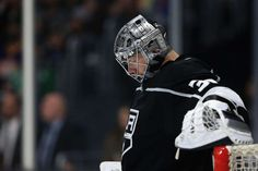 LOS ANGELES, CA - APRIL 15: Jonathan Quick #32 of the Los Angeles Kings looks on during the third period in Game Three of the Western Conference First Round against the Vegas Golden Knights during the 2018 NHL Stanley Cup Playoffs at Staples Center on April 15, 2018 in Los Angeles, California. (Photo by Sean M. Haffey/Getty Images)