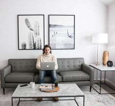 Working At Modern Sofa With Marble Table Custom Desk, Modern Home Offices,  Modern Room