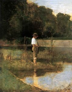 Angler 1890 Poster by Mednyanszky Laszlo. All posters are professionally printed, packaged, and shipped within 3 - 4 business days. National Gallery, Art Database, Figure Painting, Contemporary Paintings, Figurative Art, Impressionism, Great Artists, Painting Inspiration, Budapest