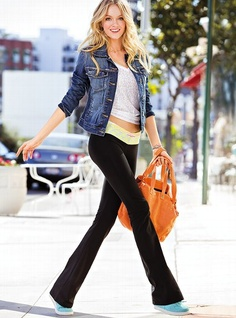 Yoga Pant with jean jacket :) cute.