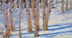 """Birches in Winter 22x42"""""""