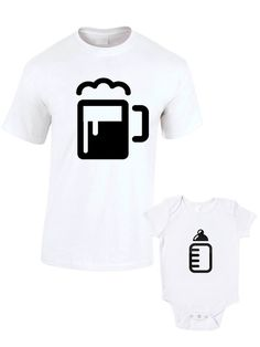 Beer And Bottle T-Shirts or Baby Grow Matching Father Child