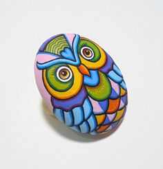 Painting On Stone Colorful Pretty Owl Is Painted by RockArtAttack