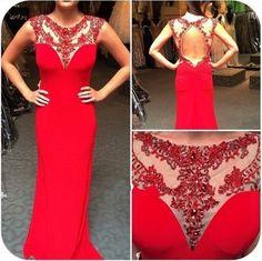 Chiffon Red Prom Dresses,Beaded Crytal Prom Dress,Long Evening Dress,Open Back Prom Dresses