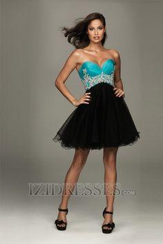 A-Line Sheath/Column Strapless Sweetheart Organza Prom Dresses at IZIDRESSES.com