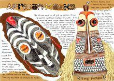 African Masks research sheet African Art For Kids, African Art Projects, African Quilts, African Textiles, Gcse Art Sketchbook, Sketchbook Layout, Sketchbooks, Cultural Patterns, Mask Drawing