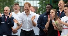 Prince Harry joins an RFU-backed community rugby programme in Alexandra Park in Stockport, England.