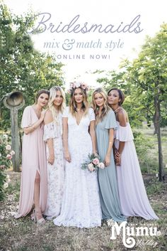 Neutral, pastels, jewel tones and classic-colored Bridesmaid Dresses to mix & match ~ online now!