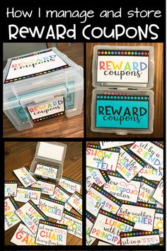 I love using a variety of fun and free classroom rewards! Rewards help with classroom management-- they also go great with Class Dojo! Learn a simple, easy, and cheap way to manage and store classroom coupons.