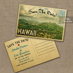 This DIY vintage travel Save The Date postcard features Hawaii in fun mid-century retro style.    The matching Wedding Invitation is here: