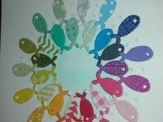 Detailfoto der Kommunionkarten-Serie 2014  #memorybox #stencil #distressink #inkystamp #rainbow #papersmooches