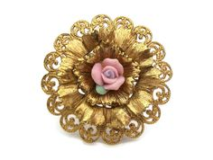 Porcelain Rose Gold Filigree Brooch  Round Gold by FeltInMyHeart