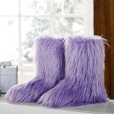 Fur-Riffic Faux Fur Booties, Purple | PBteen