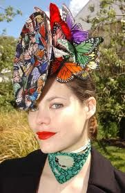 philip treacy  This would be great for the photo booth  We could make other kinds of butterfly props too!