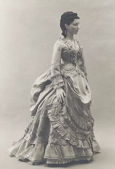 c.1871 French silk dress. This looks almost exactly like a picture from a Laura Ingalls Wilder book -- Mary going off to college!