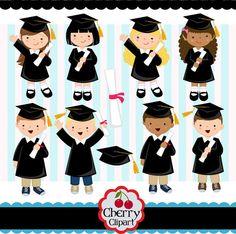 Graduation_Boys y niñas imágenes prediseñadas digital set(Black)-preescolar, preparatoria, Universidad, graduación-personales y uso comercial -