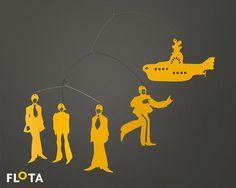 Beautiful Hanging Mobile Yellow Submarine The Beatles by FLOTASHOP