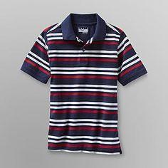 Basic Editions- -Boy's Mesh Polo Shirt - Striped-Sears