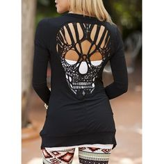 Stylish Scoop Neck Long Sleeve Hollow Out Skull Pattern Women's T-Shirt
