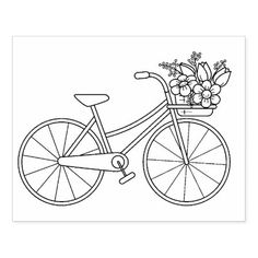 Bicycle with Flower Basket Coloring Page Rubber Stamp Diy Embroidery Flowers, Embroidery Patterns Free, Embroidery Hoop Art, Hand Embroidery Designs, Doily Patterns, Dress Patterns, Embroidery Stitches, Machine Embroidery, Sewing Patterns