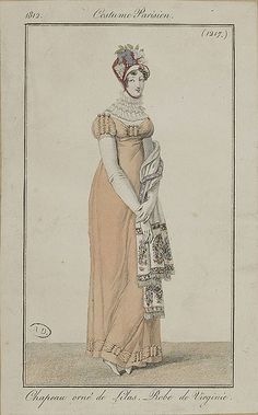 """1812 Costume Parisien. Hat trimmed with lilacs. Dress of """"Virginie."""""""