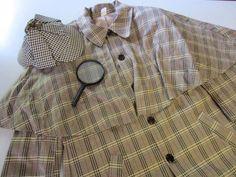 Sherlock Holmes Costume M Medium Coat Hat Magnifying Glass Smiffys #Smiffys