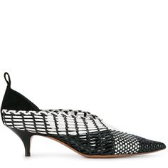 Céline - woven pumps - women - Leather - 37 ($1,172) ❤ liked on Polyvore featuring shoes, pumps, black, leather pointed toe pumps, pointy-toe pumps, black pointy toe pumps, kitten heel pumps and celine pumps