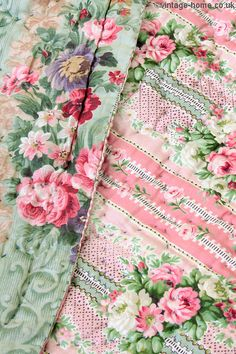 Vintage Home - Antique Rose Garland Pink Stripe Welsh Quilt.