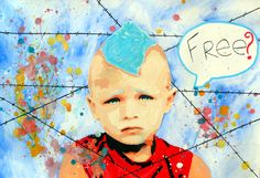 """""""FRee?"""" acrylics and watercolors on rough paper size 33cmx48cm"""