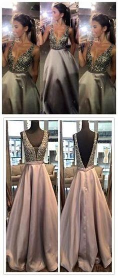 Charming V-Neck Sexy Popular A-Line Evening Sparkly Custom Long Prom Dresses Online