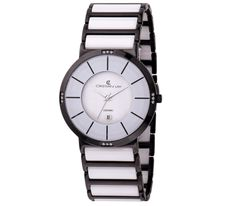 #Reloj con caja de #ACERO chapado especial I.P. #negro. #ceramica #blanco #white #black