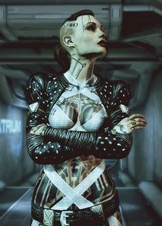 #Cyberpunk girl with a cyborg looking Angelina Jolie affect