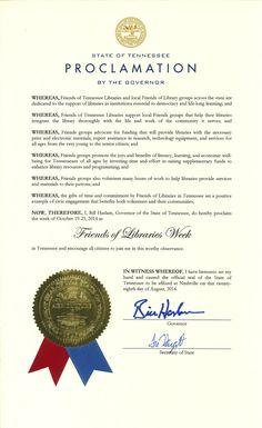 2014 Friends of Libraries Week | Gov. Bill Haslam's Proclamation