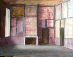 Art cabinet in Antwerp, oil on wood, 2014, by Pierre Bergian. Two doors towards two dark rooms. Exposition chez Laurent de Puybaudet à Paris, de 27.5 jusque 13.6.15
