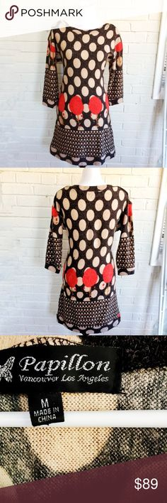 Papillon brown polka dot sweaterdress with poppies Make an offer! No trades. Bundle and save - I'm a fast shipper! Measures approximately 36 inches in length and 18 inches across the bust when laid flat.  Item 44 Inventory: R1 Papillon Blanc Dresses Long Sleeve