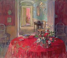 Susan Ryder. The Red Tablecloth (oil on canvas)                              …