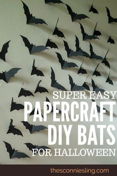 Make any room spooky with these easy DIY paper bats! Perfect cheap Halloween cra… Make every room spooky with these simple DIY paper bats! Halloween Tags, My First Halloween, Halloween Designs, Halloween Party Decor, Spooky Halloween, Halloween Crafts, Holiday Crafts, Diy Halloween Decorations For Your Room, Fall Crafts