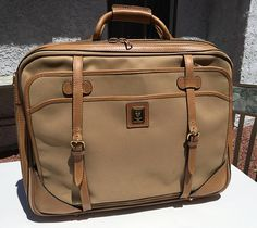 2864f8a786c Authentic rare Gucci 80 s carry on overnight luggage and attached matching  gucci portfolio leather   canvas made in Italy. Vintage Gucci ...