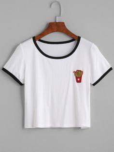 Camiseta ribete en contraste patatas fritas crop - blanco