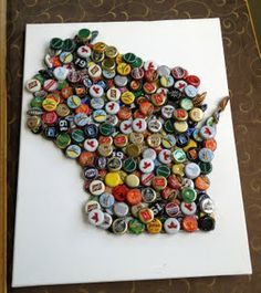 wisconsin in beer caps Handcrafted Gifts - Caledonia Created