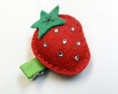 Girls hair clip Felt Strawberry Hair clipbaby by ShaileeBoutique
