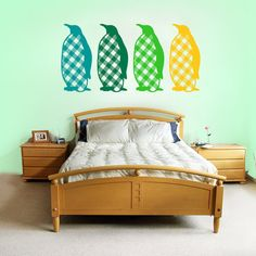 Penguins with flannel bellys wall decal upto four by RadRaspberry