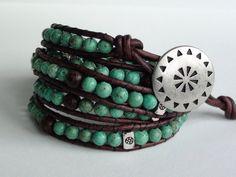 Southwestern Style Leather Wrap Bracelet