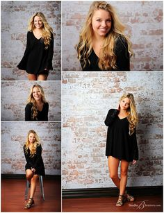 Fashion senior pictures of girl in black dress by brick wall_Studio B Portraits